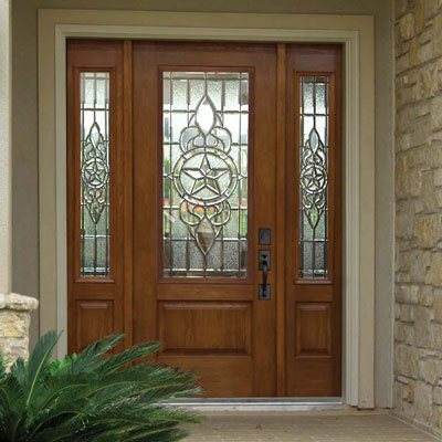 front entry door with decorative glass inlay