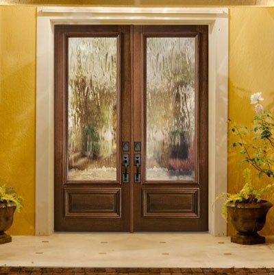 Replacement door with privacy textured glass inlay
