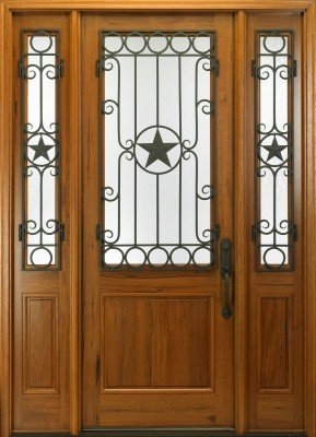 MAI wood door with decorative wrought iron