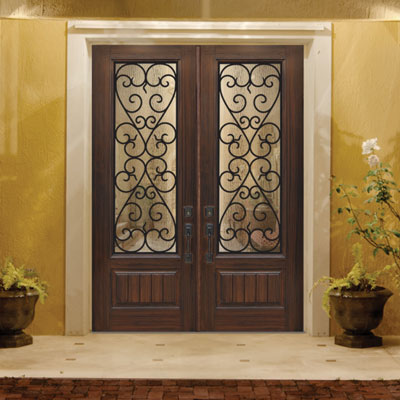 Mahogany Exterior Door with Textured Glass inlay