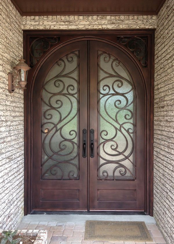 installed forged iron door
