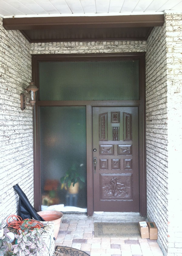 before picture of the forged iron door project in The Woodlands